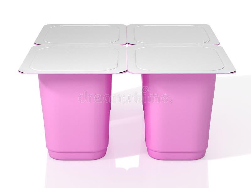 Cztery różowej plastikowej filiżanki dla jogurtu z foliowym deklem ilustracja 3 d ilustracja wektor