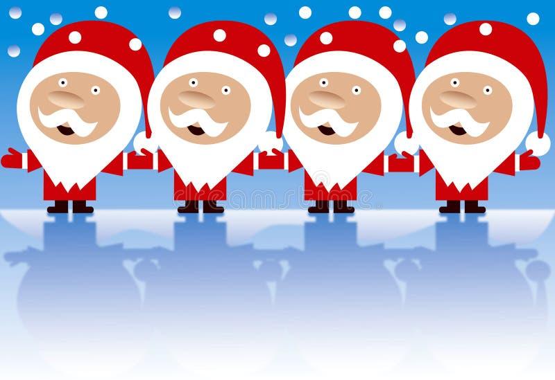 cztery ręk szczęśliwy mienie odosobneni Santas royalty ilustracja