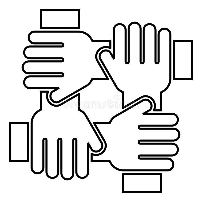 Cztery ręka trzyma wpólnie drużynowego pracy pojęcia ikony czerni koloru ilustraci mieszkania stylu prostego wizerunek royalty ilustracja