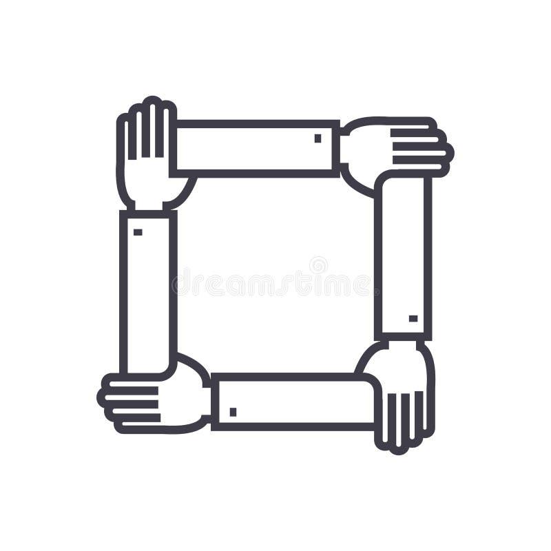 Cztery ręki wpólnie, pomoc wektoru linii ikona, znak, ilustracja na tle, editable uderzenia ilustracja wektor