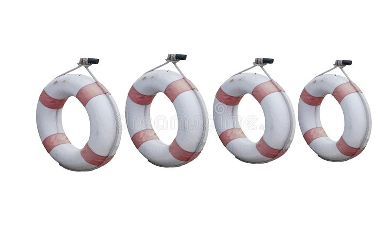 Cztery ringowego lifebuoy stary z linowym obwieszeniem odizolowywającym na białych tło ?ycie ciu?acz obraz stock
