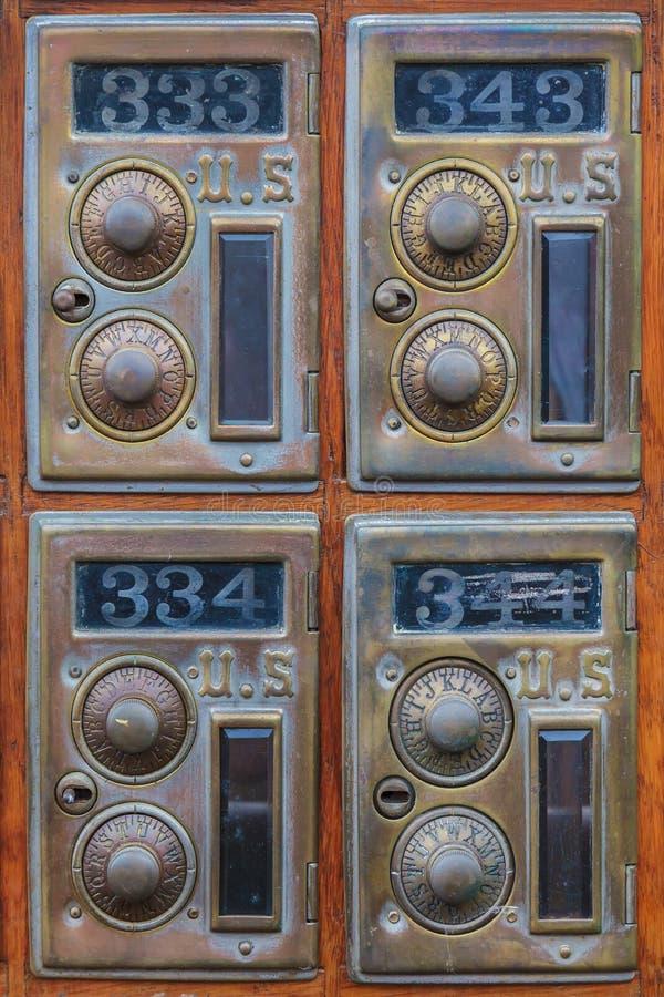 Cztery rocznika urzędu pocztowego amerykańskiego pudełka obrazy stock