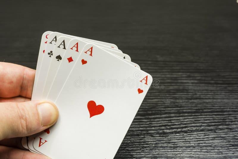 Cztery rodzaj na ręce z as zdjęcia royalty free