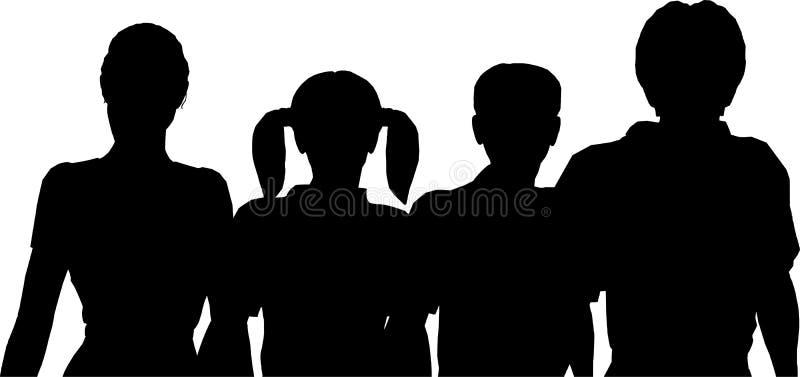 cztery rodziny sylwetka royalty ilustracja