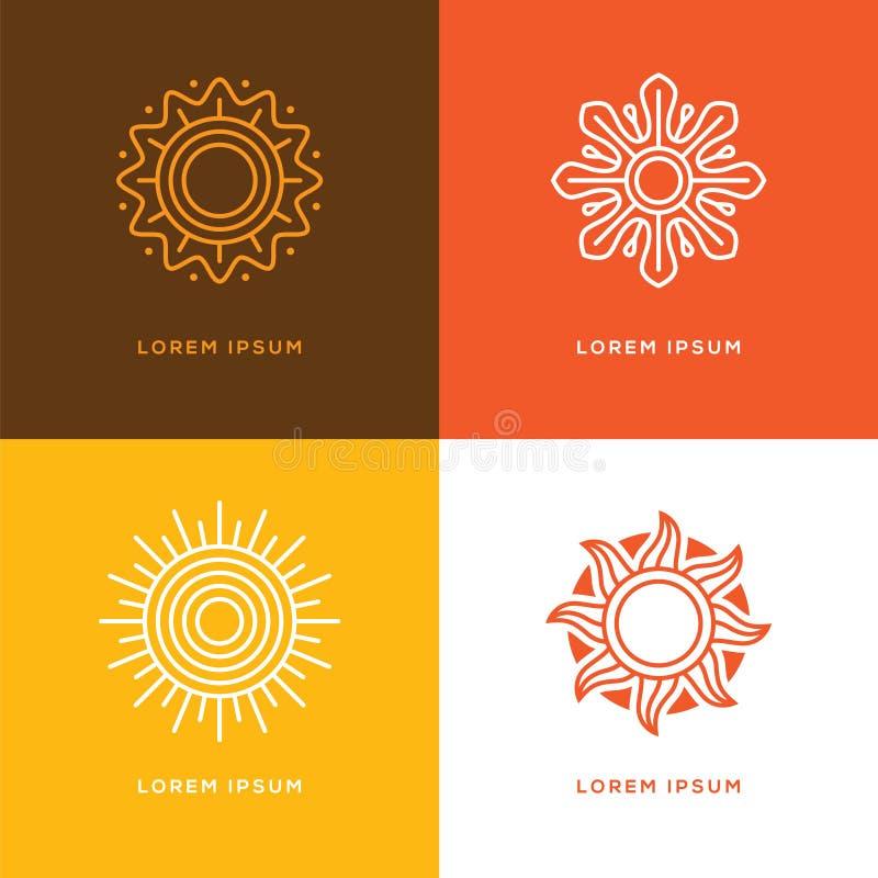 Cztery słońca abstrakcjonistyczny liniowy logo ilustracji