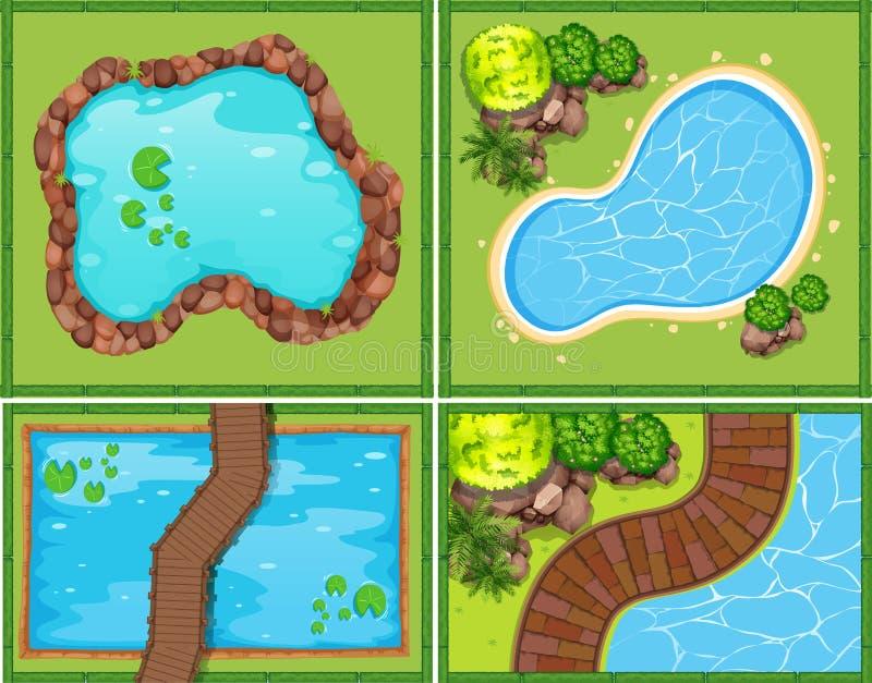 Cztery scena basen i staw ilustracji