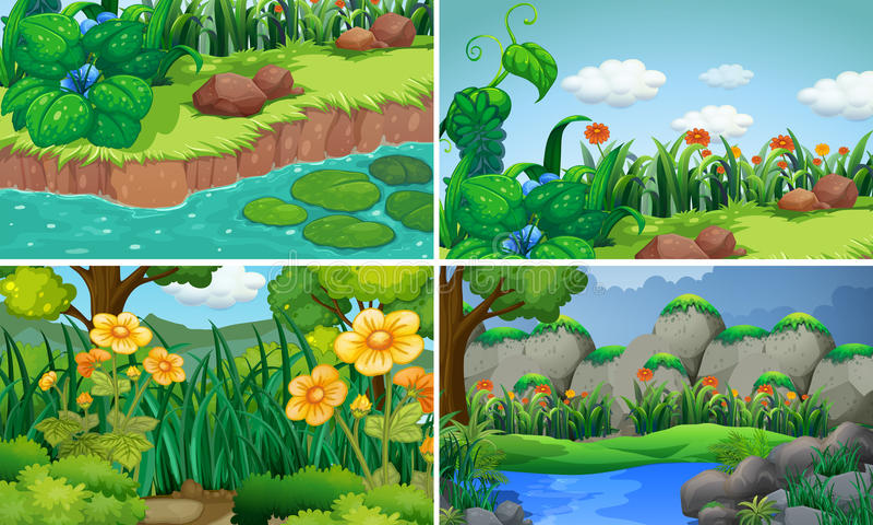 Cztery sceny z kwiatami w ogródzie royalty ilustracja