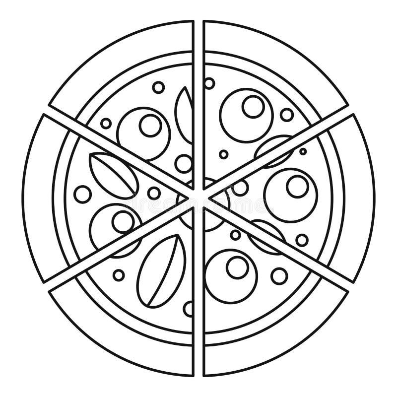 Cztery serów pizzy ikona, konturu styl royalty ilustracja