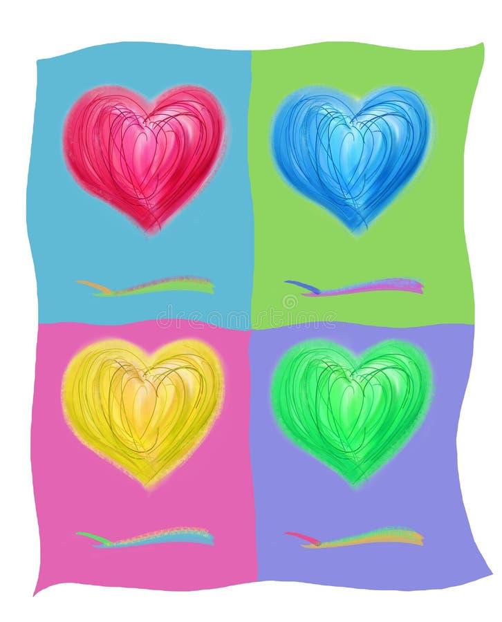 cztery serca ilustracji