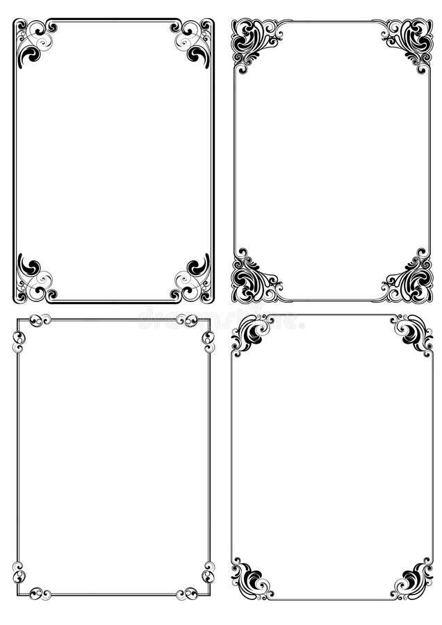Cztery setów ramowy projekt ilustracji