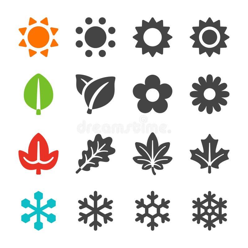 Cztery sezonów ikony set ilustracja wektor