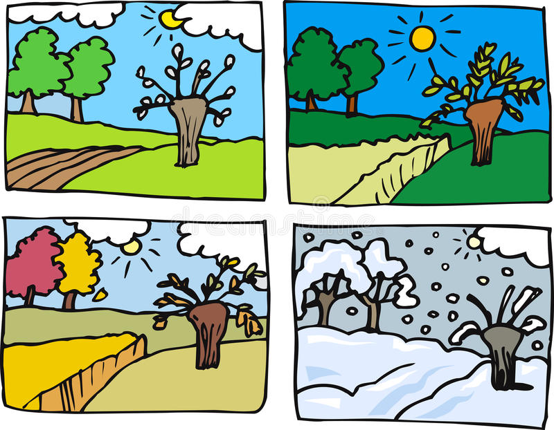Cztery sezonów kreskówki ilustracja royalty ilustracja
