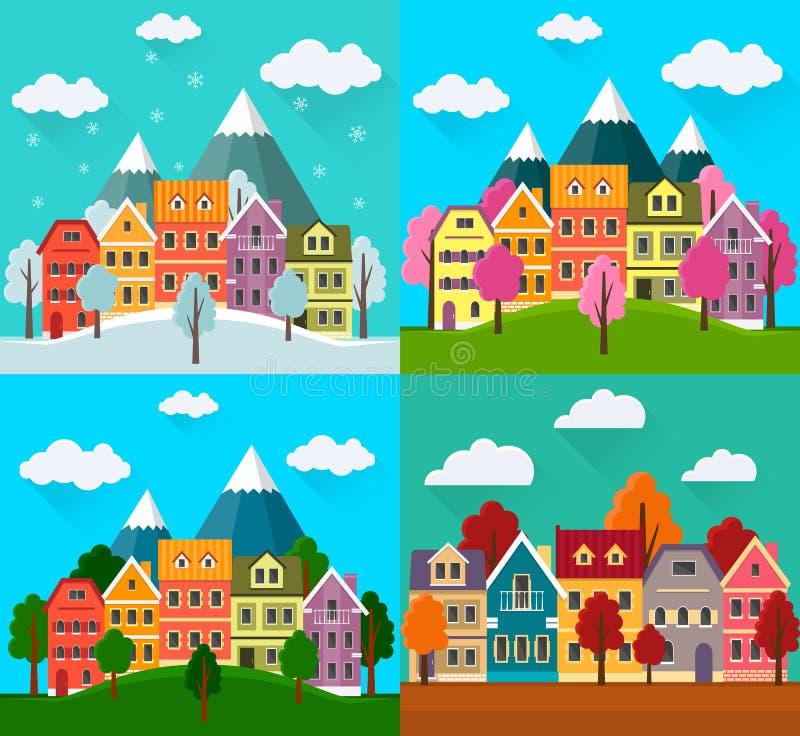 Cztery sezonów miasto: wiosna, jesień, lato, zima ilustracji