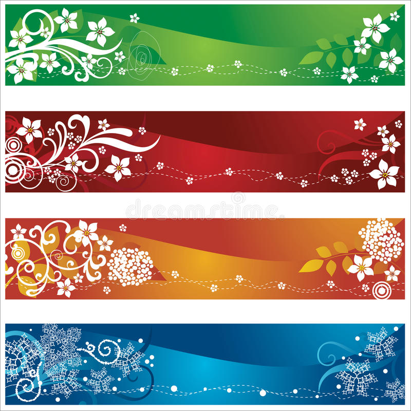 Cztery sezonowego sztandaru z kwiatami i płatkami śniegu   ilustracji