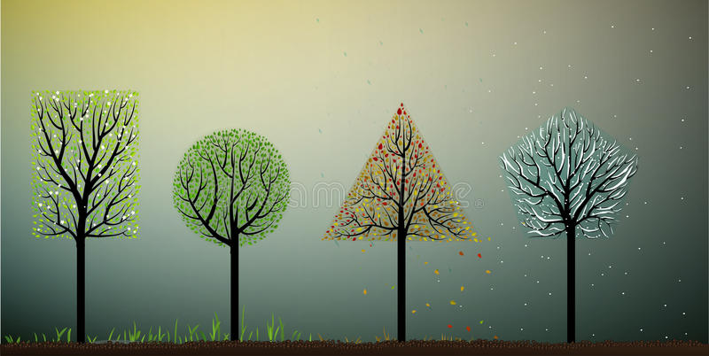 Cztery sezonu, geometria kształta drzewo ilustracji