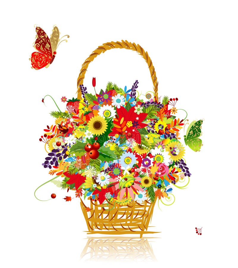 Cztery sezonu. Kosz z liściem i kwiatami dla ilustracji