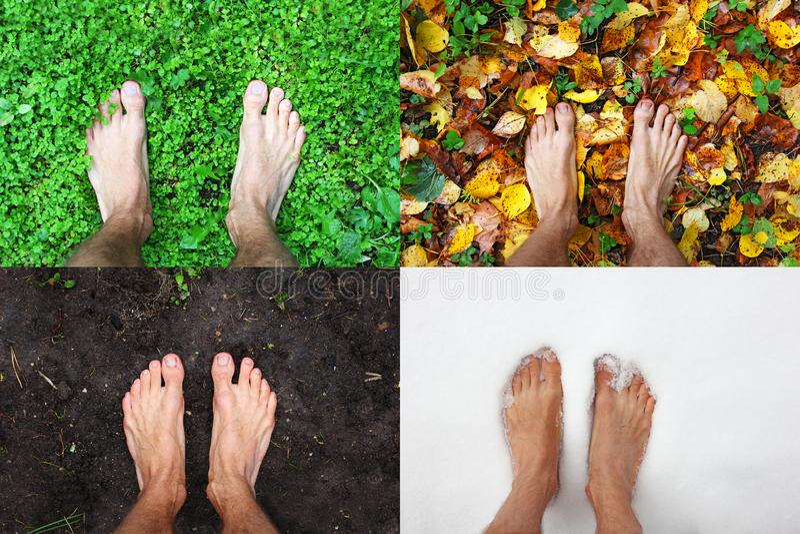 Cztery sezonu mężczyzny nagiego cieki stoją lato na zielonej trawie, zima śnieg, jesień liście, wiosny ziemia, odgórny widok, kop fotografia royalty free