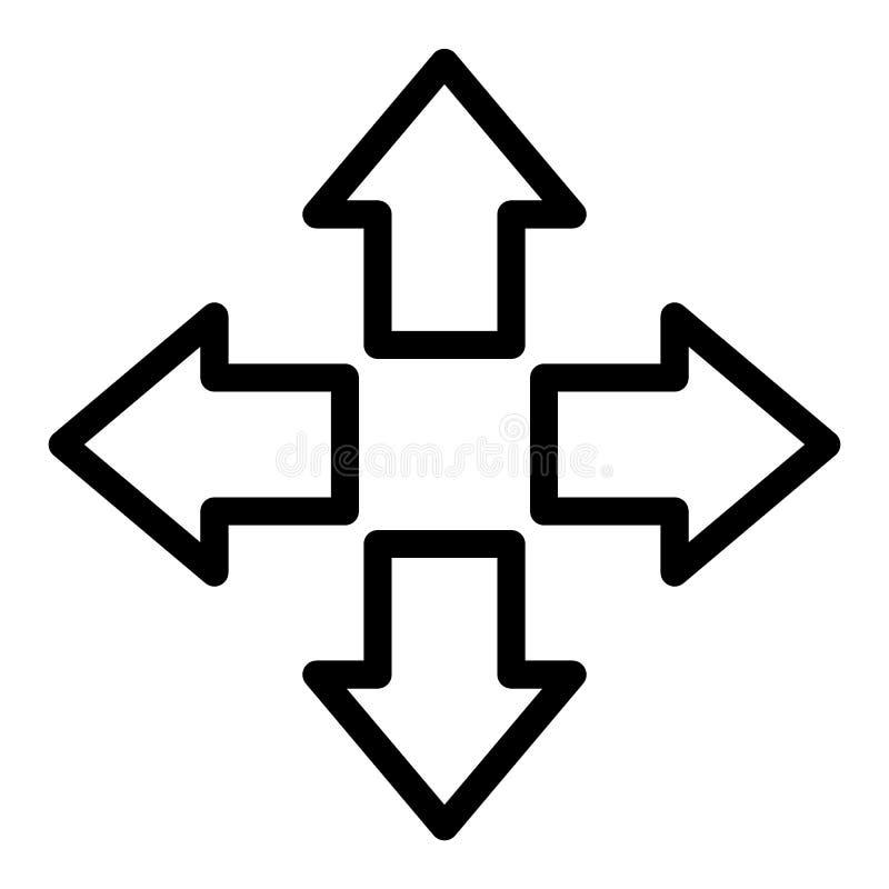 Cztery strzała wykładają ikonę Kierunku wektoru ilustracja odizolowywająca na bielu Pointeru konturu stylu projekt, projektujący  royalty ilustracja