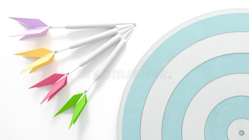 Cztery strzałki z dartboard ilustracja wektor