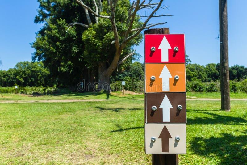 Cztery Strzałkowatego koloru kierunku znaka obraz royalty free