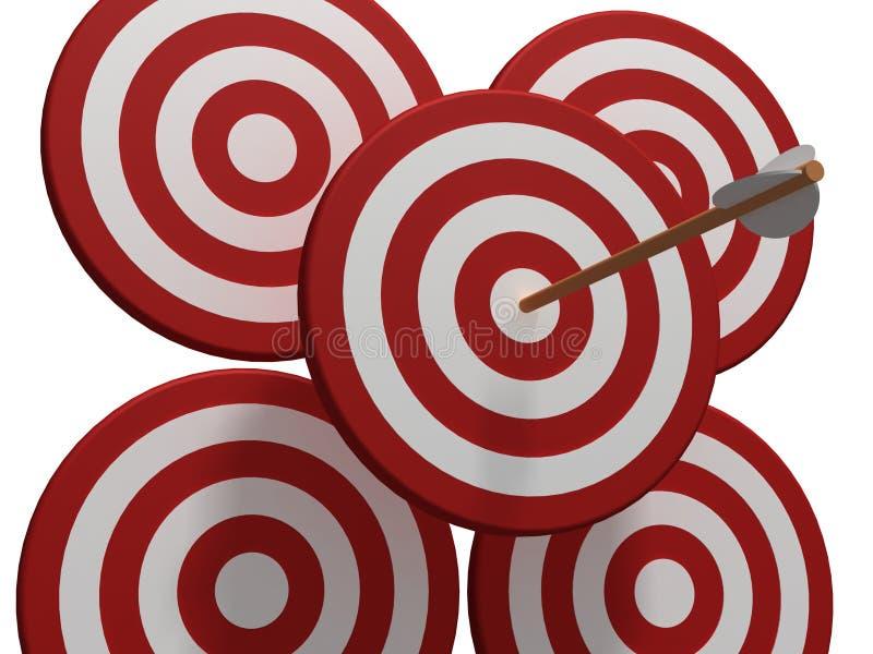 cztery strzały czerwony cel ilustracja wektor