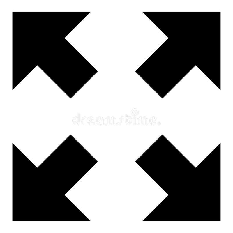 Cztery strzały wskazuje różni kierunki od centrum ikony czernią kolor ilustrację ilustracja wektor
