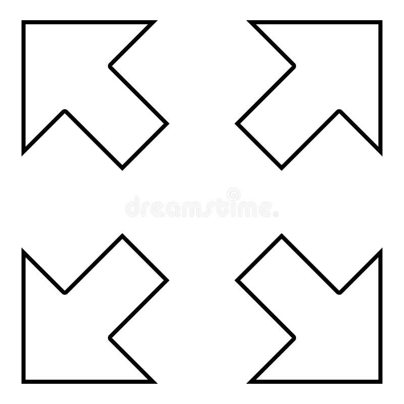 Cztery strzały wskazuje różni kierunki od centrum ikony czerni koloru ilustracji konturu royalty ilustracja