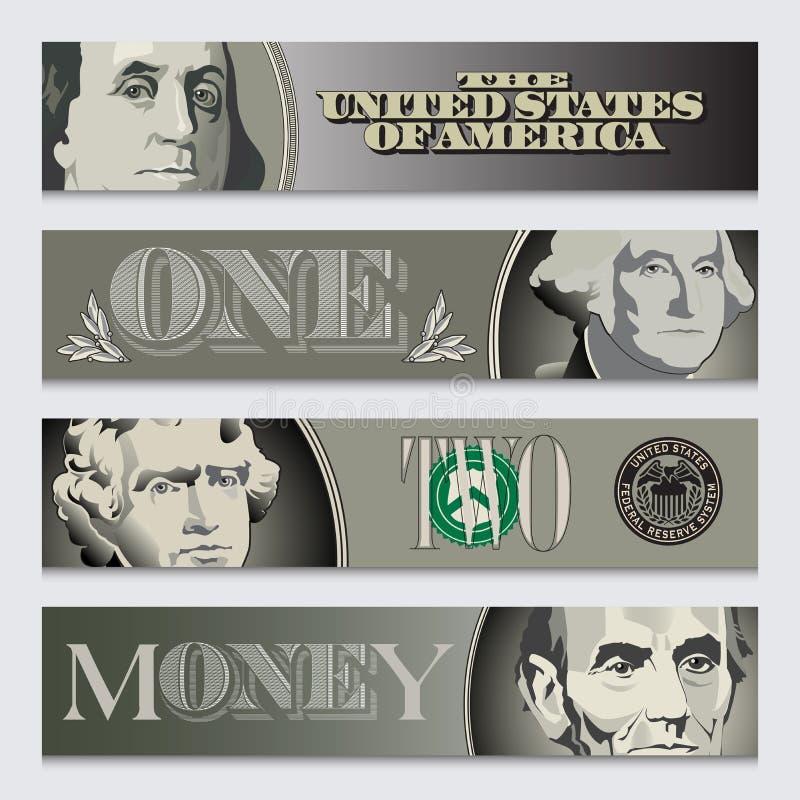 Cztery stylizowanego pieniądze sztandaru ilustracja wektor