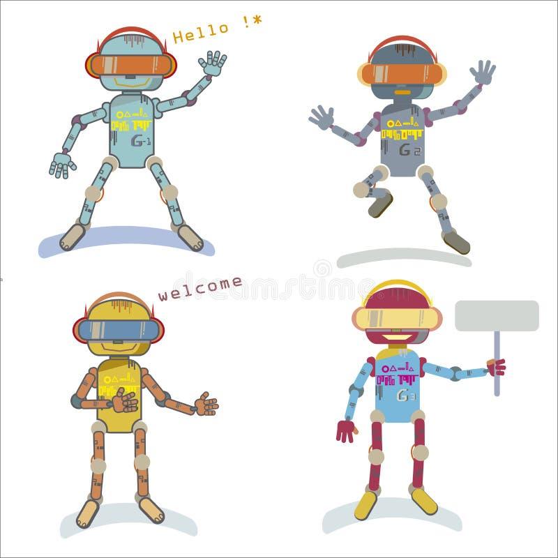 Cztery stylowego robota royalty ilustracja