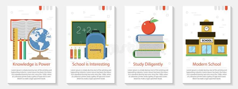Cztery sztandar dla edukaci szkolnej royalty ilustracja