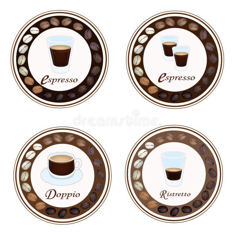 Cztery typ Gorąca kawa w Retro Round etykietce royalty ilustracja