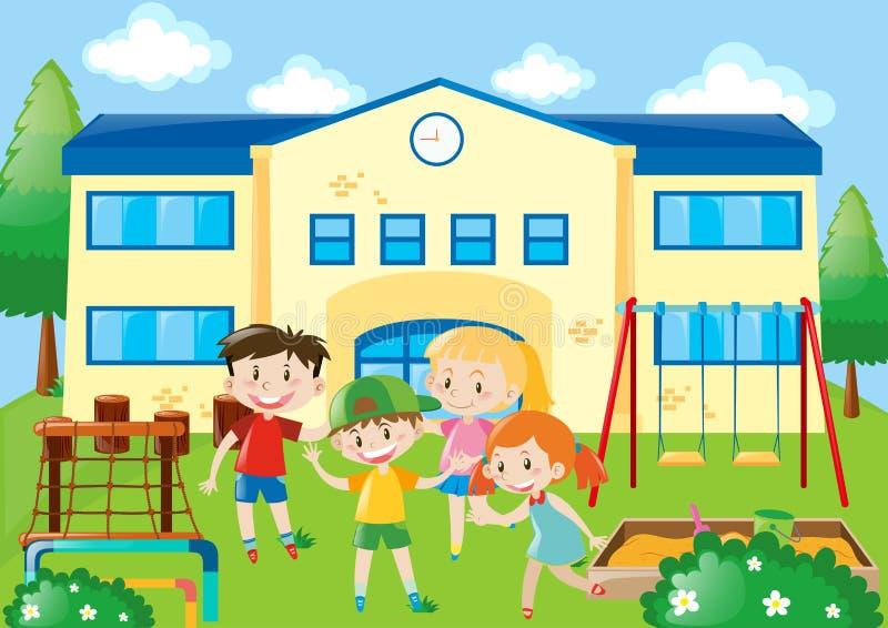 Cztery ucznia w szkolnym boisku ilustracji