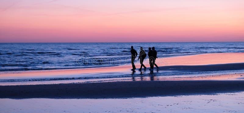 Cztery unrecognizable młodego człowieka chodzi na opustoszałej plaży przy słońce setem zdjęcie royalty free