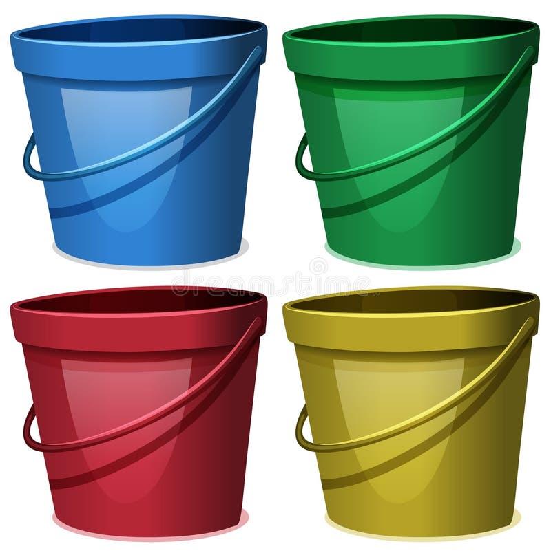 Cztery wiadra woda w cztery kolorach ilustracji