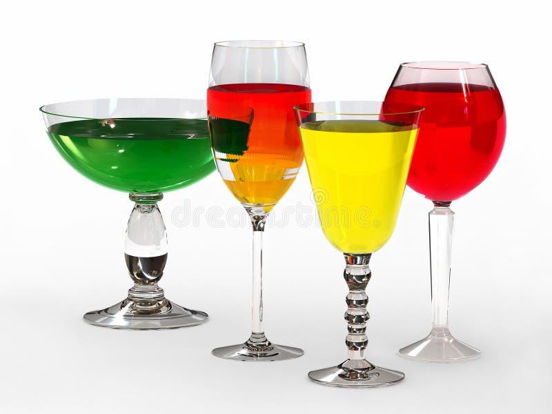 Cztery wysokiego wina szkła