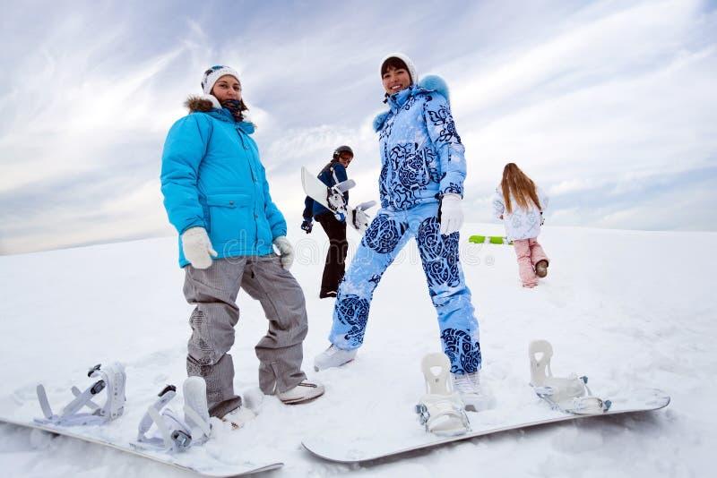 cztery wzgórza jeźdzów snowboard obrazy royalty free