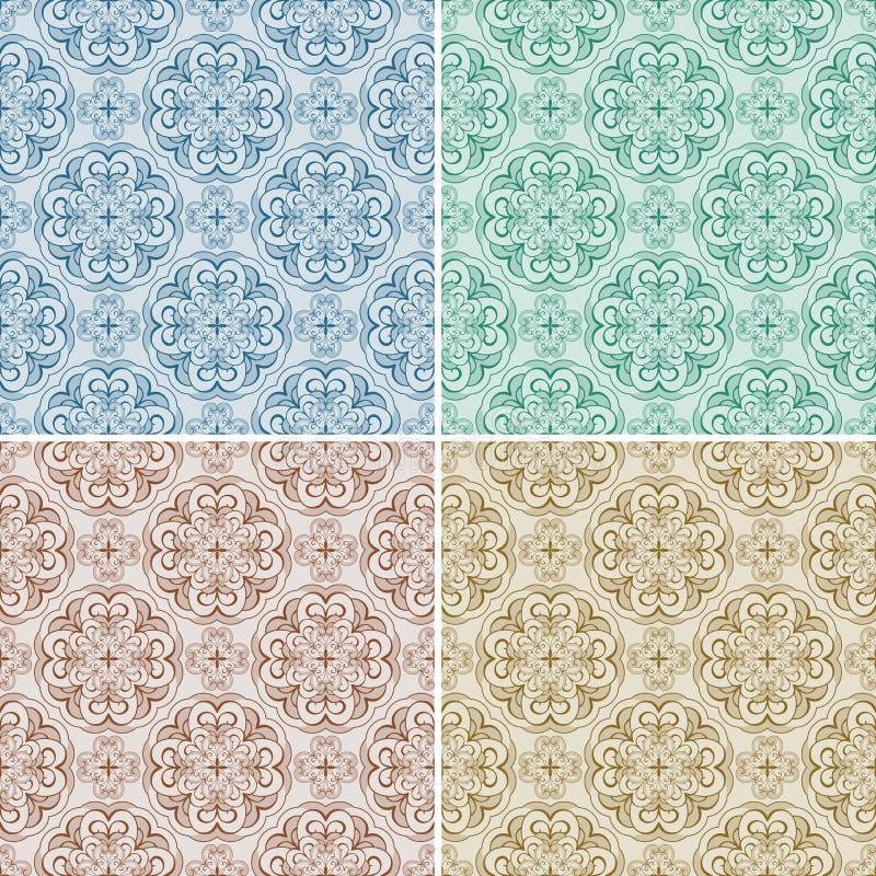 cztery wzorów bezszwowy set ilustracja wektor
