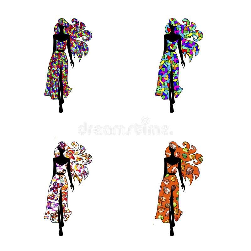 Cztery wzorcowej dziewczyny w pięknych sukniach chodzą na białym tle ilustracja wektor