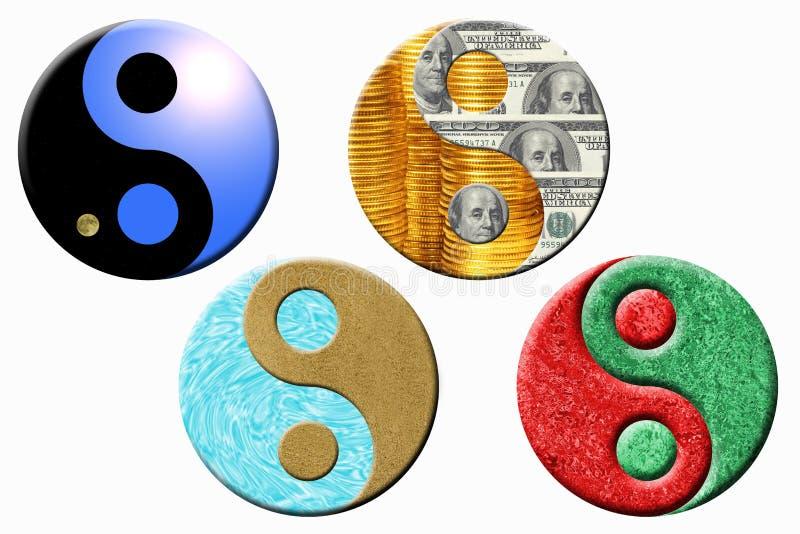 Cztery yin Yang symbolu zdjęcia royalty free