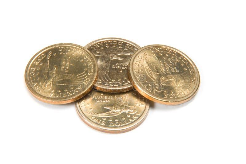 cztery złote monety. obrazy stock