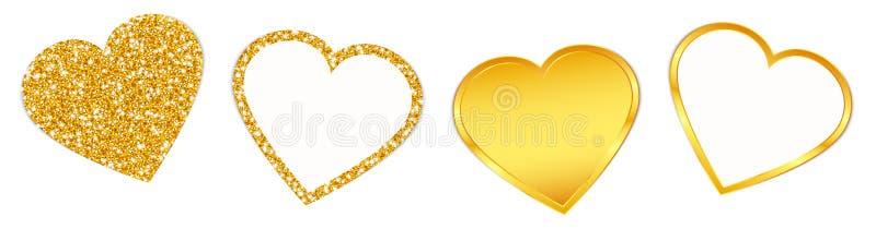 Cztery Złotego serca Błyska set I Błyszczy ilustracji