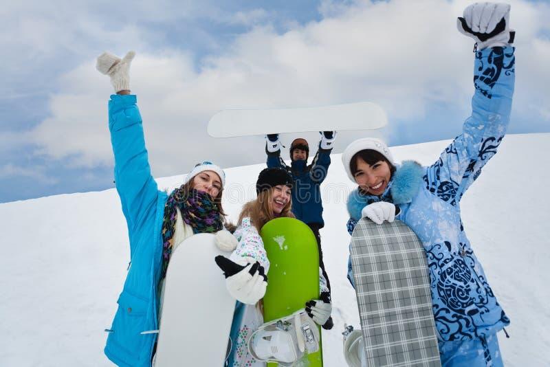 cztery zabawy mouintains snowborders fotografia stock