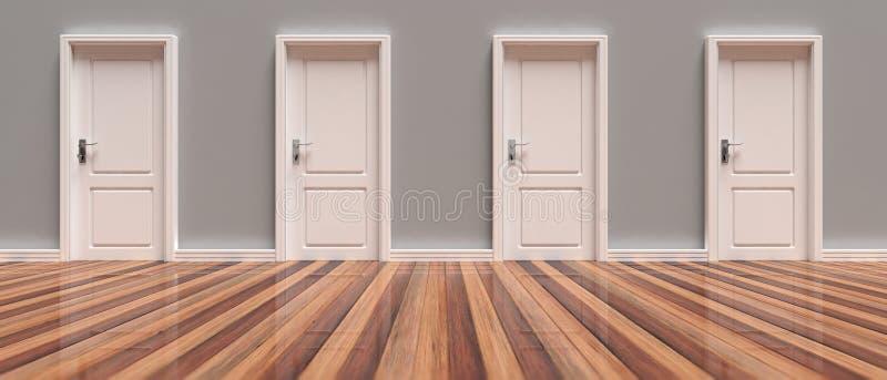 Cztery zamykali białych drzwi na popielatej ścianie i drewnianym podłogowym tle, sztandar ilustracja 3 d ilustracji