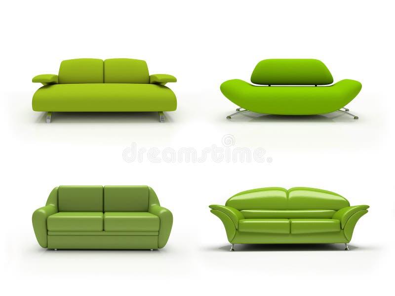 cztery zielonej nowoczesnej kanapy ilustracji