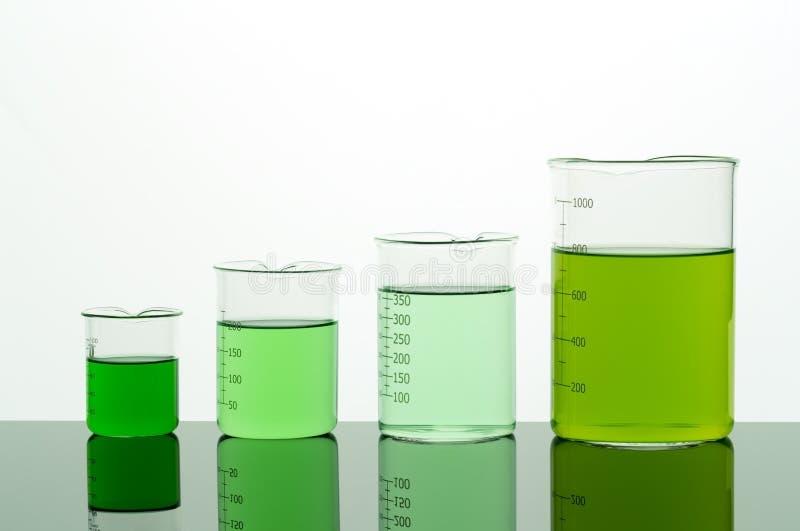 Cztery zlewki z zielonym cieczem obraz stock