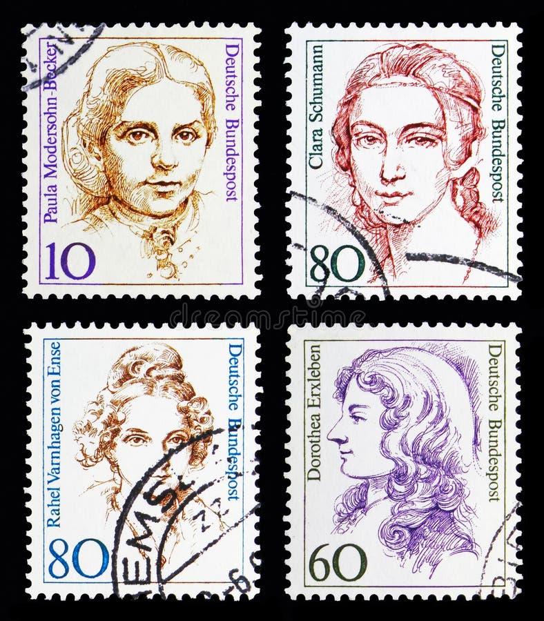 Cztery znaczka pocztowego od kobiet w Niemieckim historii seria około 19, obraz royalty free