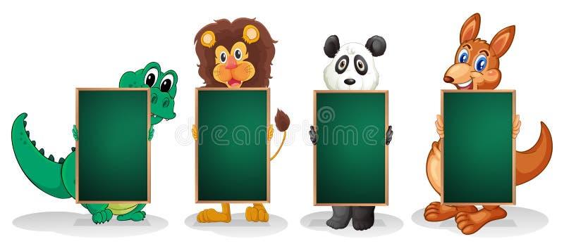 Cztery zwierzęcia tworzy linię z pustymi blackboards ilustracja wektor