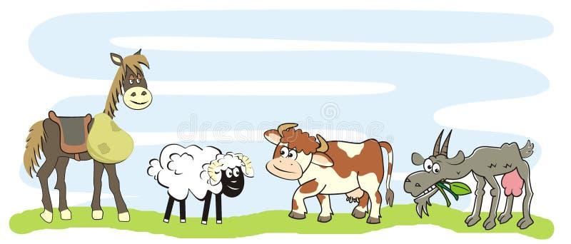 Cztery zwierzęta gospodarskie, koń, cakle, krowa i kózki na łące, śmieszna wektorowa ilustracja royalty ilustracja