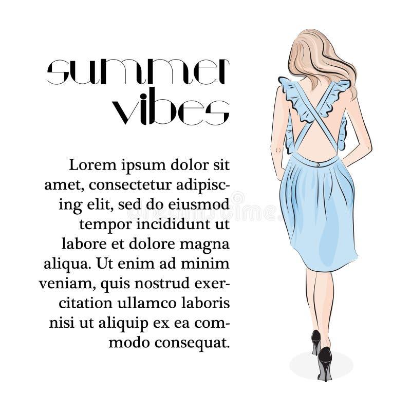 Czuła młoda dziewczyna w pastelowej błękit sukni Atrakcyjny moda model w niepokój sukni Stylu życia splendoru kobiety druk Lato ilustracja wektor