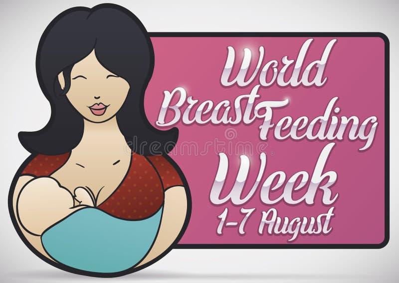 Czuła mama z jej dzieckiem i znak dla Breastfeeding tygodnia, Wektorowa ilustracja ilustracja wektor